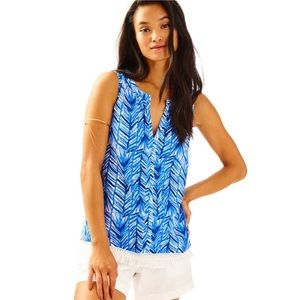Lilly Pulitzer Kipper Top Lapis Blue Costa Verde